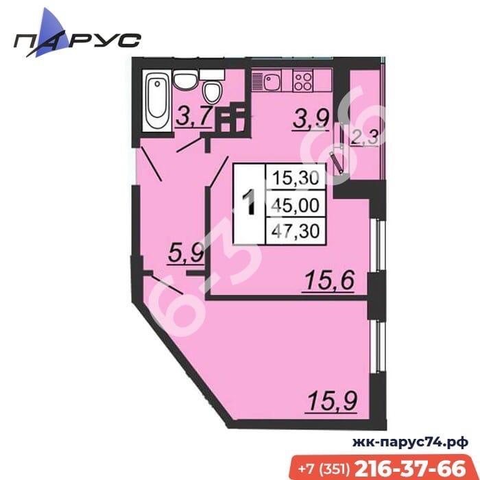 ЖК ПАРУС, срок сдачи 4 квартал 2022 года. Функциональная планировка Квартиры Студия + спальня!…